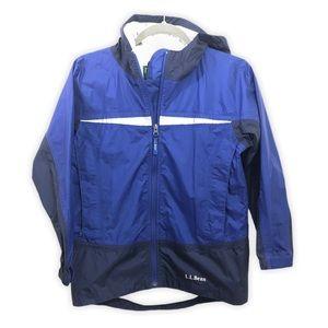 LL Bean Rain Jacket Hooded Blue Boys Medium 10-12